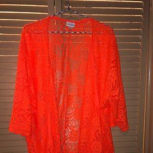Lularoe lace kimono, size medium, neon orange